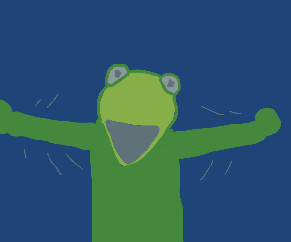 Kermit flailing his arms and yelling