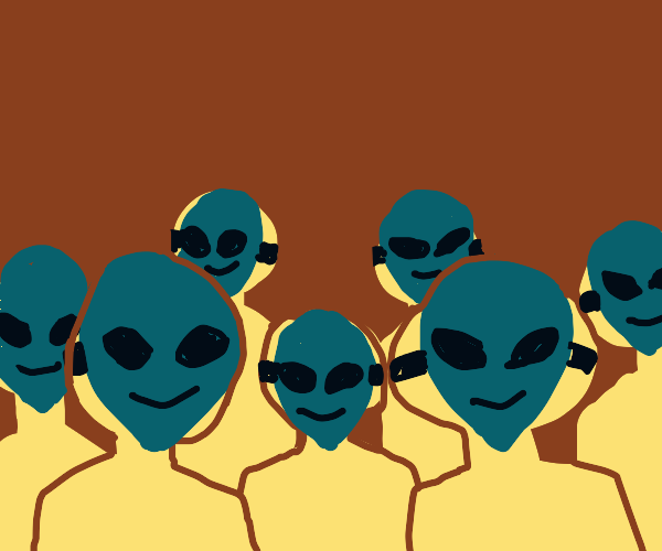 bunch of people wearing blue alien masks