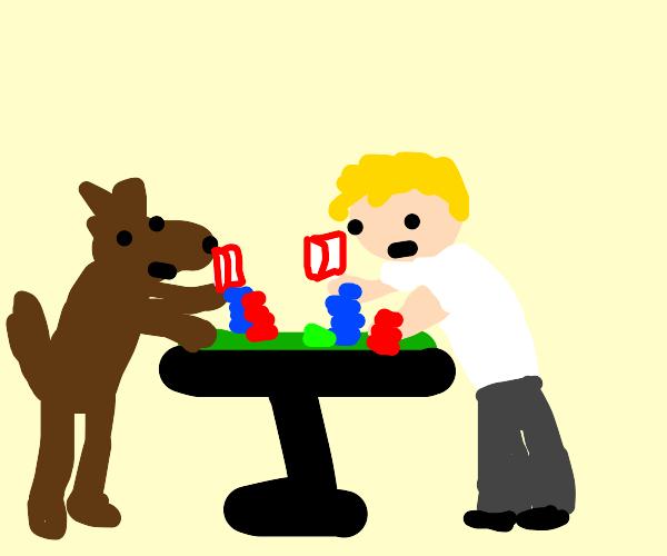 dog and guy playing poker