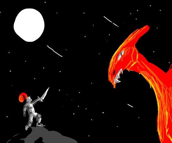 Knight fights dragon at night