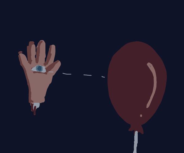 Face Hand sees Balloon
