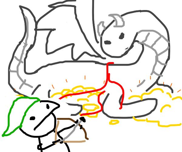 Adventurer slaying dragon