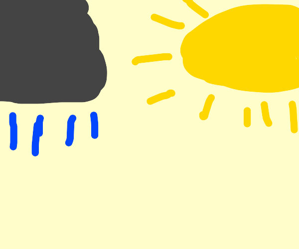 A rain cloud and the sun
