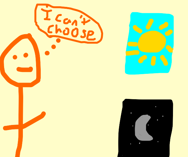 Man cant choose between day and night books