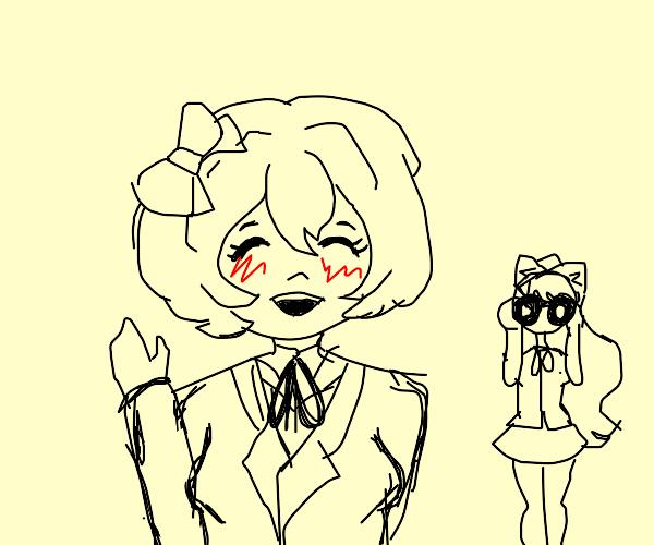 Sayori says Hi while being stalked by Monika