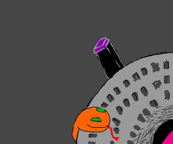 top of spaceship with orange snake on it