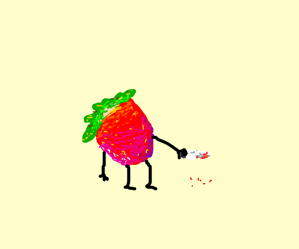 Angry strawberry out for blood