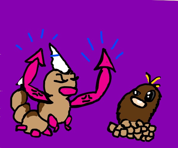Weedle shows Diglett his new hands