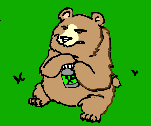 Angry grizzly bear with a bottle of mustard