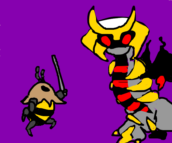 Bee knight fights apocalyptic centipede
