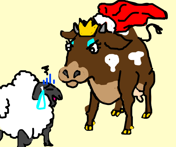 Queen cow angry at sheep