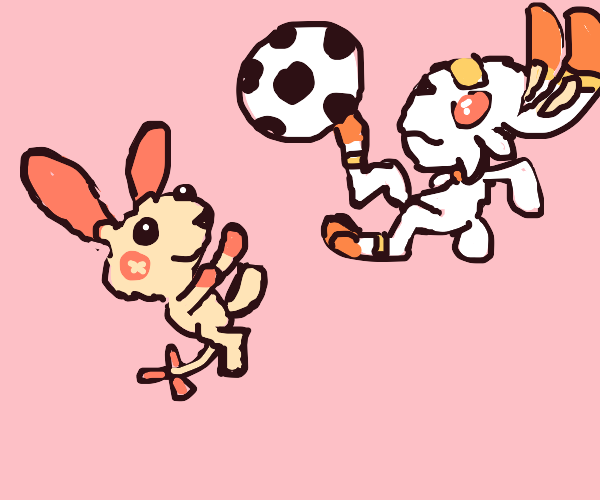 Plusle and Scorbunny playing together
