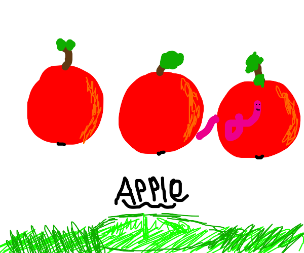 3 red apples, one with worm poster