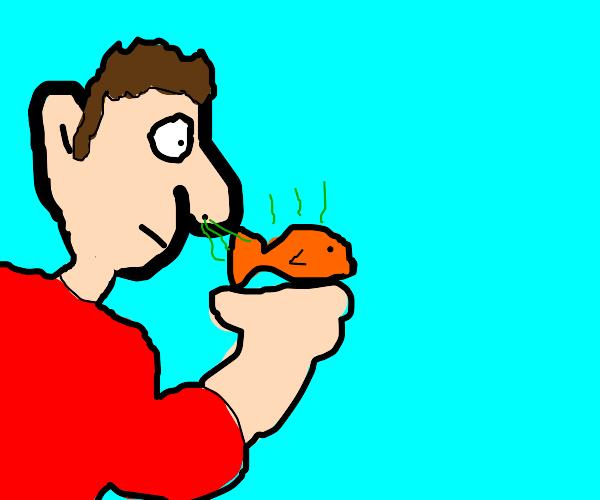 man smells fish