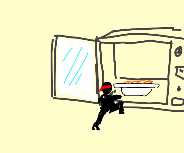 Mini person breaks into microwave