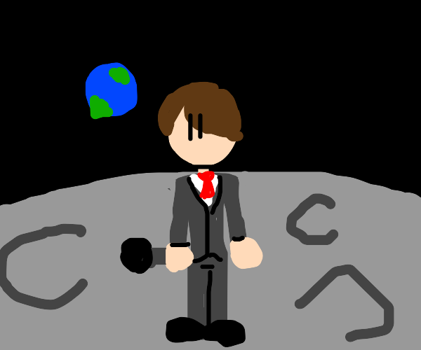 male singer in suit on the moon