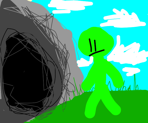 green stickman looks at a cave entrance