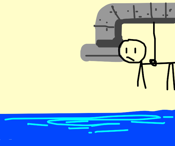Man hangs on a pipe over water