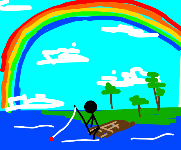fishing under the rainbow