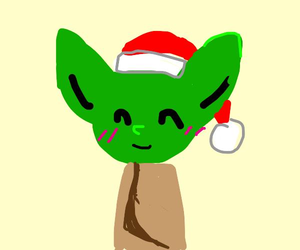 Yoda with santa hat
