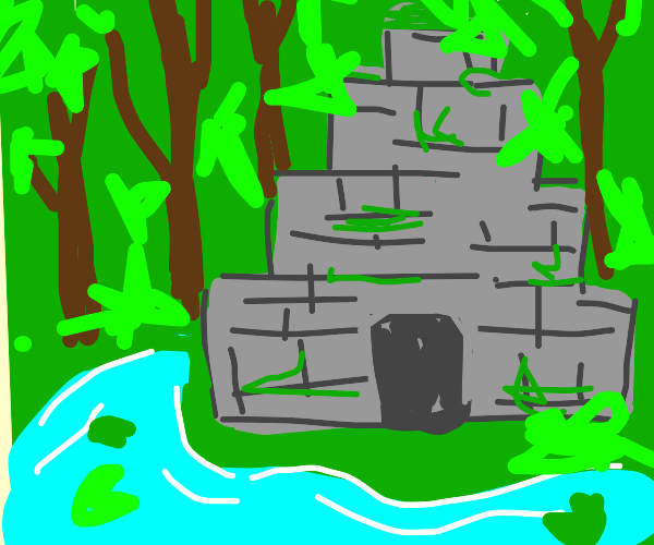 rock pyramid with water inside in the woods