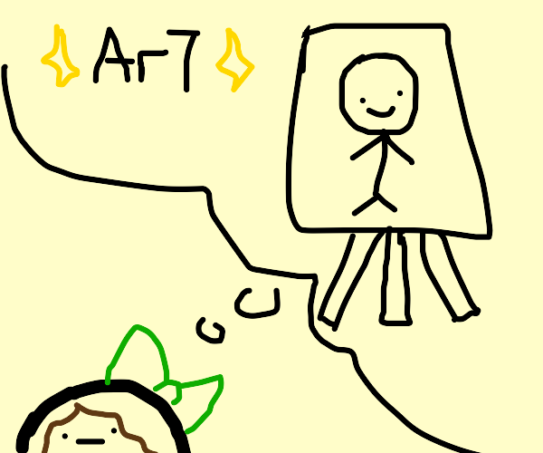The person who drew this thinking about art