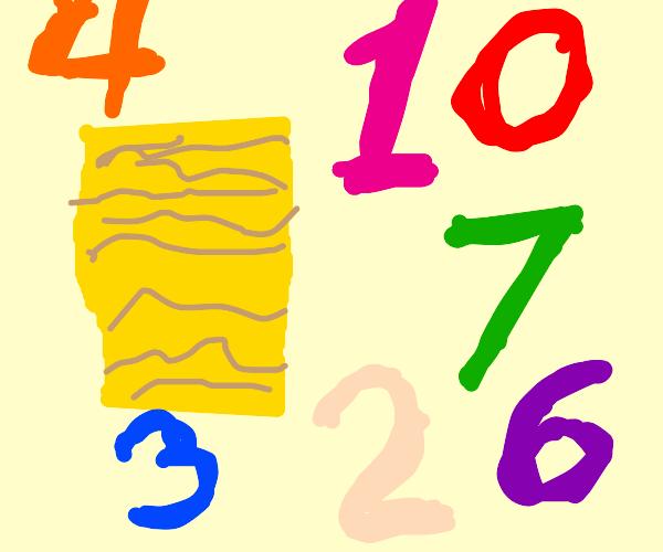Rectangular Block of Ramen with Numbers