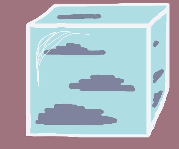 Sky in a glass cube