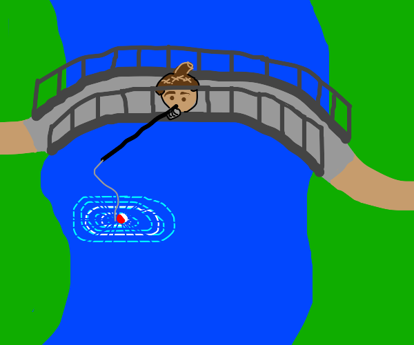 Acorn goes fishing
