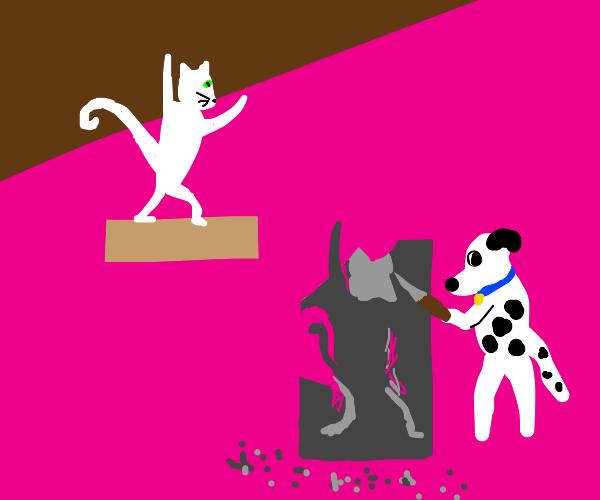 dog sculpting cat