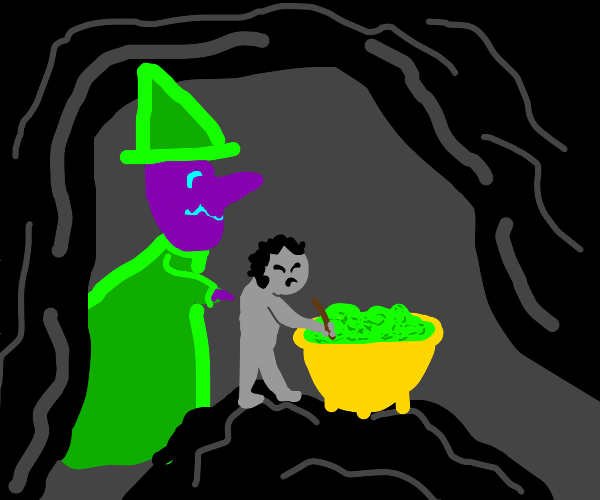 A man...stirs a pot full of green for a witch