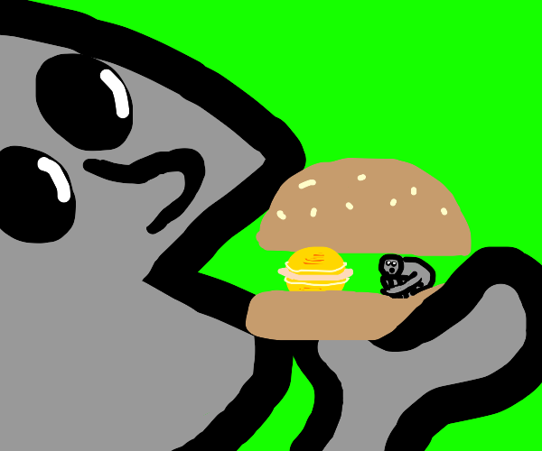 a guy eating sandwich and saturn and guy
