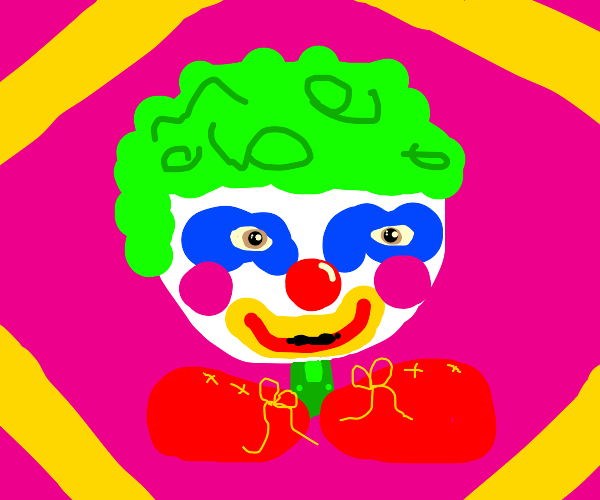 clown boy with green hair and huge red shoes