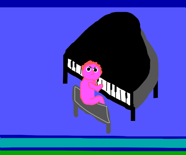 Pink guy and a piano looking at you