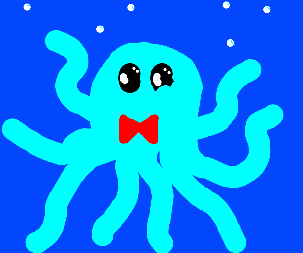 A blue octopus with a tie