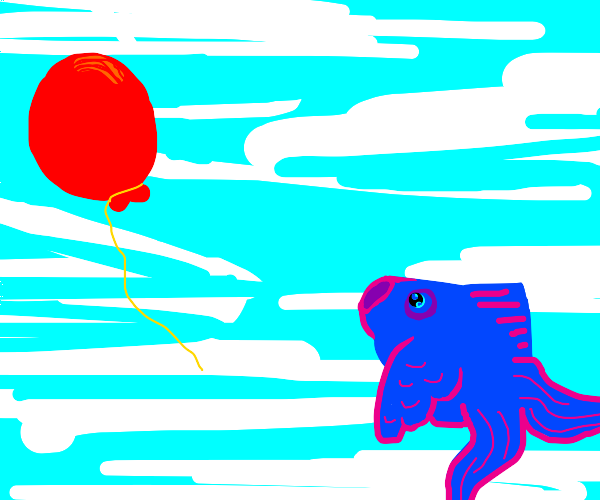 flying fish chasing a red balloon