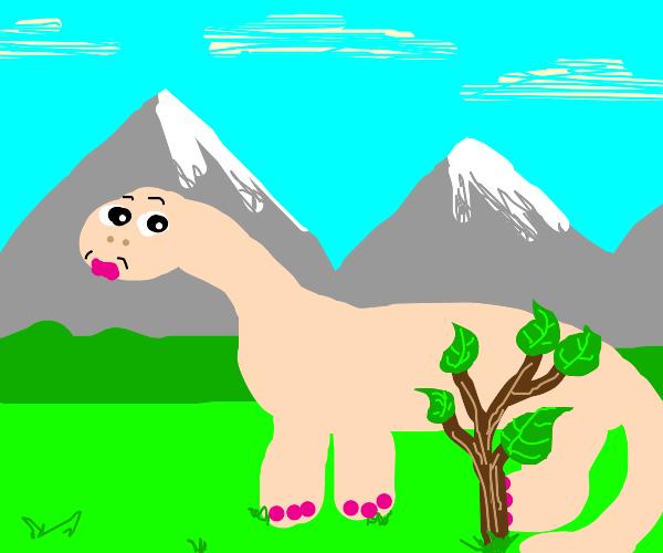 naked dinosaur hides himself behind foliage