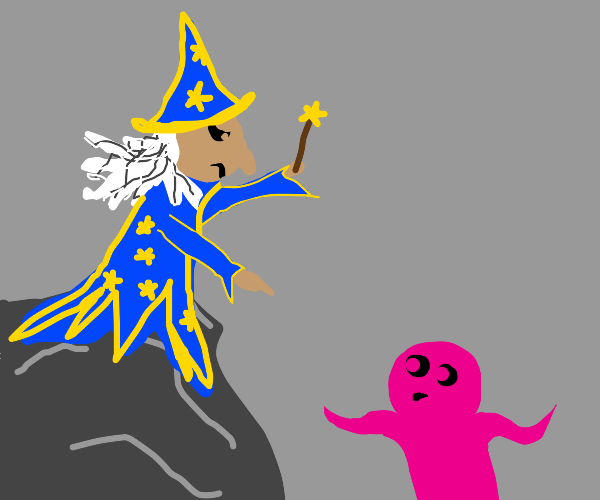 Wizard is angry at a pink guy