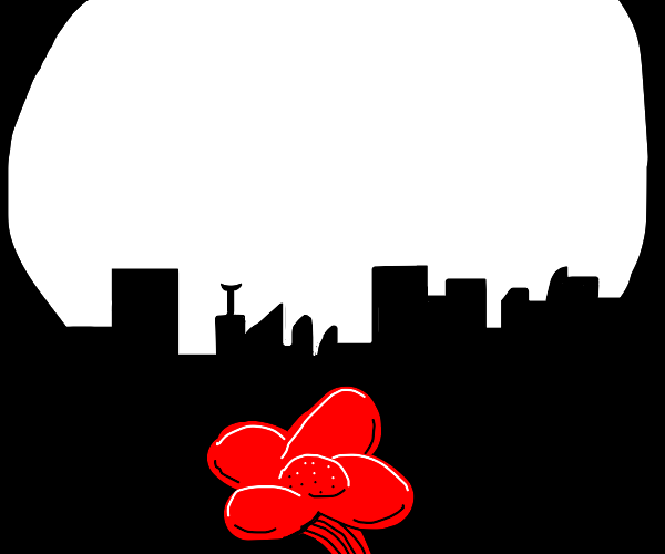Flower under full moon in cityscape