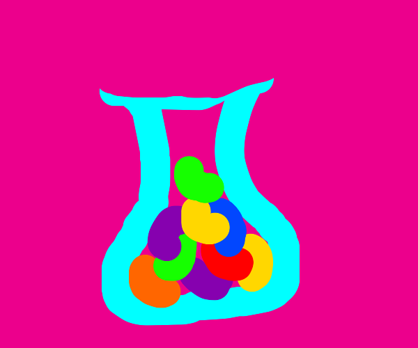 jellybeans in a vase