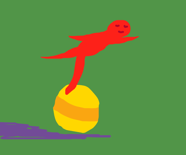Red guy balances on the pixar ball