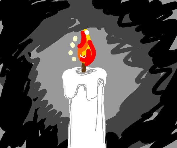 A single, burning white candle.