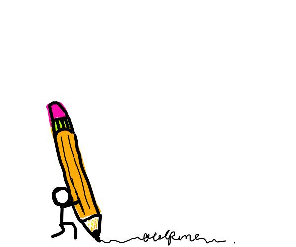tiny guy draws with giant pencil