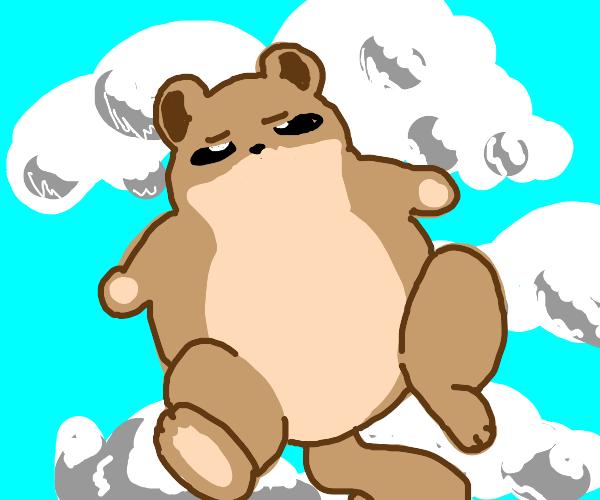 A squirrel blows up like a blowfish.