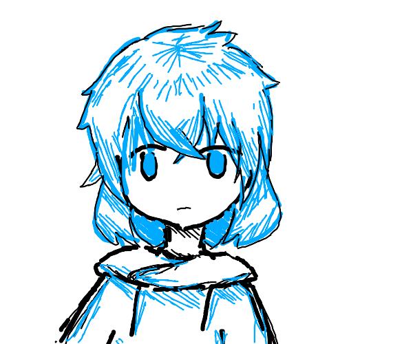blue haired girl wears blue sweater