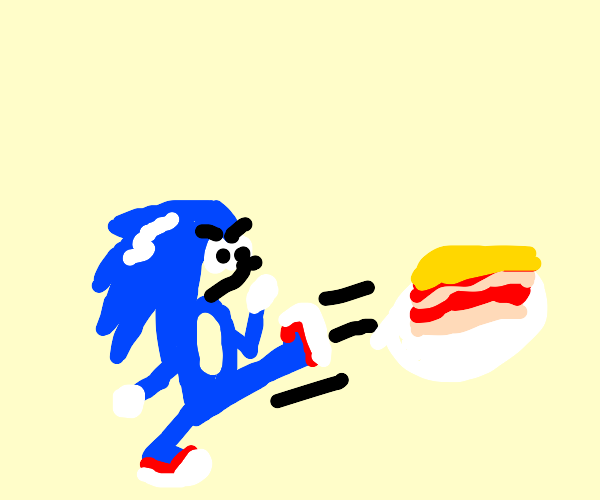 sonic fighting a plate of lasagna