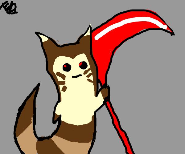furret from pokemon holding a scythe