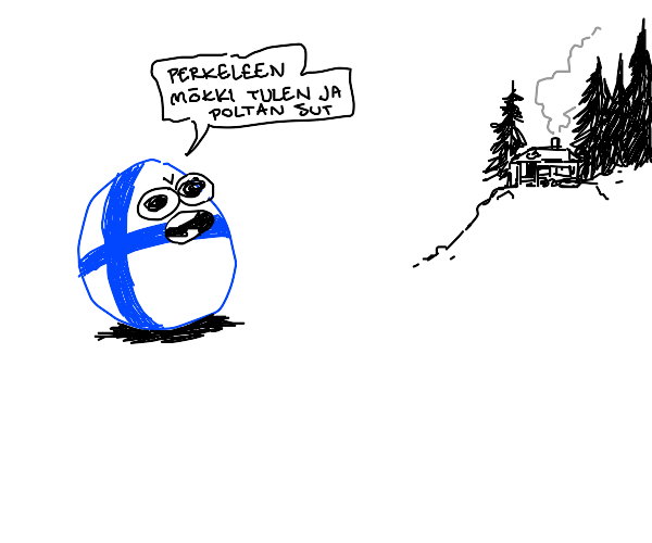 Finland ball threatens a cottage in Finnish