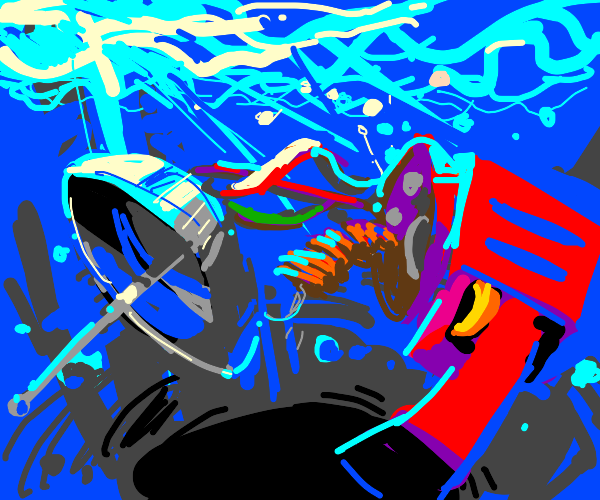 Ray gun falls apart underwater