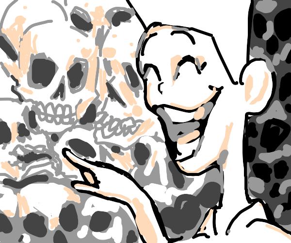 kid smiling at skull heads